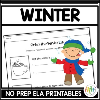 No Prep Winter Literacy Activity Packet