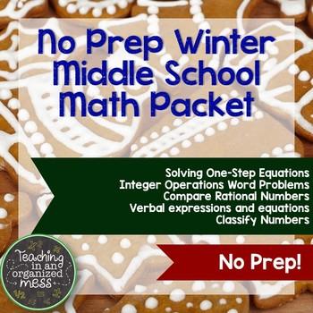 No Prep Winter Math Packet--Middle School Math