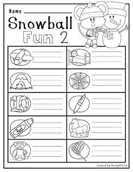 No Prep Winter Math and Literacy Kindergarten