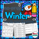 No Prep Winter Math and Literacy Kindergarten