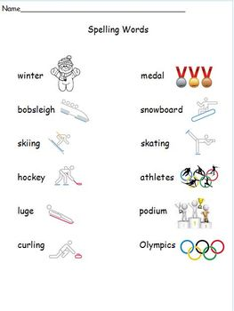 No Prep Winter Olympics Spelling Words, Homework, and Test