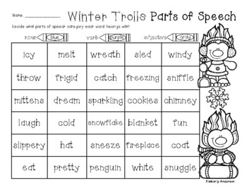 No-Prep Winter Trolls Parts of Speech (Nouns / Verbs / Adjectives) Practice