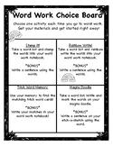No Prep Word Work Choice Board
