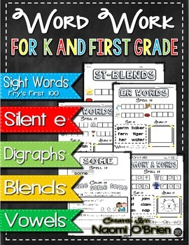 No Prep Word Work for K and First Grade