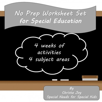 No Prep Worksheet Set for Special Education