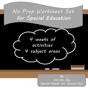 No Prep Worksheet Set for Special Education
