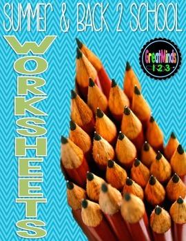 No-Prep Worksheets - Back to School, Apples, Summer