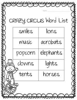 No-Prep Worksheets - Circus FREEBIE