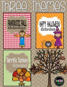 No-Prep Worksheets - Fall, Halloween, Turkeys