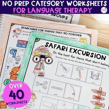 No Prep Worksheets For Categories