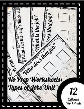 No Prep Worksheets: Types of Jobs Unit