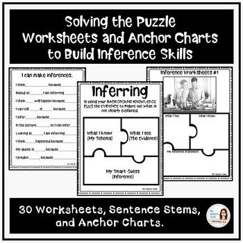 No-Prep Worksheets and Anchor Charts to build Inference Skills