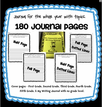 Writing Journal with Topic Headers for the Entire Year - No Prep