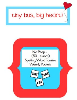 No Prep – Year long Bundle of Spelling or Word Families Weekly Packets