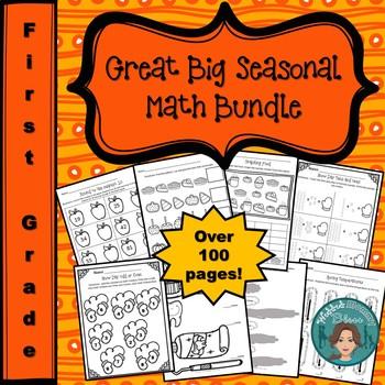 No Prep Yearlong Seasonal First Grade Math Bundle
