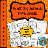 No Prep Yearlong Seasonal First Grade Math Bundle
