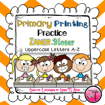 No Prep! ~ Zaner-Bloser~ {Ball and Stick} Uppercase Primary Printing Practice