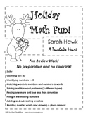 Christmas-No Prep and No Color Ink-Fun Math Activity Sheets K-1st