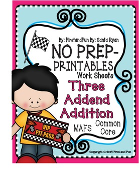 No PrepThree Addend Addition Math Worksheets Common Core MAFS