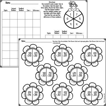 No Prep Triple Digit Addition and Subtraction Printables