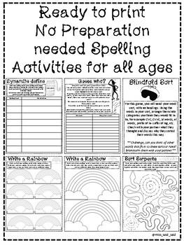 No Preparation Needed Spelling Activities