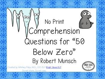 """No Print """"50 Below Zero"""" Comprehension Questions"""