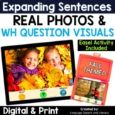 No Print Speech Therapy Fall Expanding Sentences | Real Photos | Story Starters