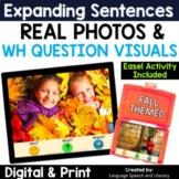 No Print Speech Therapy Expanding Sentences | Real Photos | Fall | Teletherapy