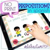 No Print Preposiciones/Prepositions in Spanish for Speech Therapy