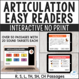 No Print Articulation Easy Readers for Speech Therapy Dist