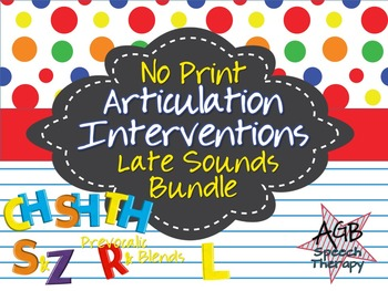 No Print Articulation Interventions Later Sounds Bundle