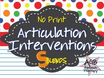 No Print Articulation Interventions - S Blends FREEBIE