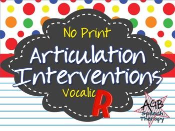 No Print Articulation Interventions Vocalic R Bundle