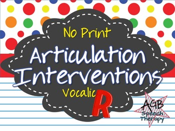No Print Articulation Interventions Vocalic R Bundle
