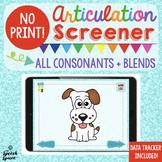 No Print Articulation Screener: All Consonant Sounds + Ble