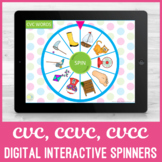 No Print CVC, CVCC, CCVC Word Spinners for iPad or Teletherapy