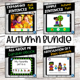 No Print Speech Therapy Back to School Fall Language Bundle | Teletherapy