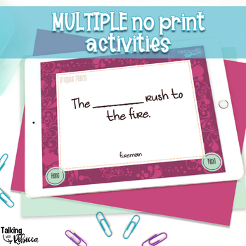 No Print Expressive and Receptive Grammar for Speech Therapy