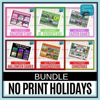 No Print Language & Articulation Holiday Bundle