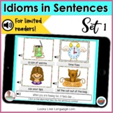 BOOM Cards Distance Learning Speech Therapy | Idioms in Se