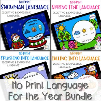 No Print Receptive and Expressive Language Year Long Bundle