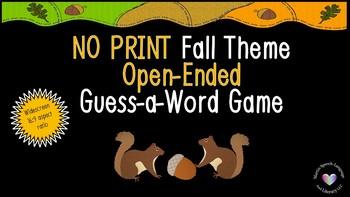 No Print/No Prep Fall Theme Guess-A-Word Standard Aspect