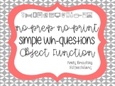 No-Print - Simple Wh-Questions - Function of Objects - Interactive - Autism