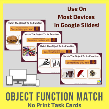 No Print Object Function Task Cards for Google Slides
