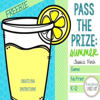 FREEBIE! No Print Pass the Prize: Summer Edition