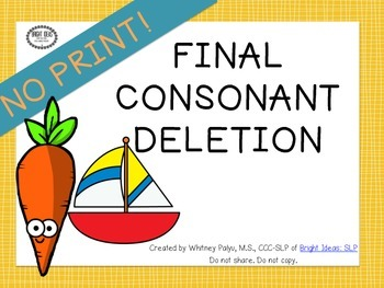 No Print Phonology  - Final Consonant Deletion UPDATED
