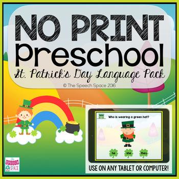 No Print Preschool St. Patrick's Day Language Pack - CCSS Aligned!