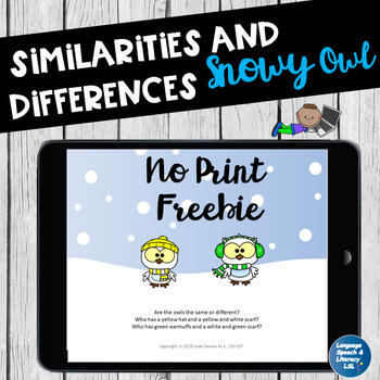 FREE No Print Similarities Differences & Descriptions