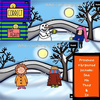 No Print Sneezy the Snowman Receptive/Expressive Pronouns Book Companion