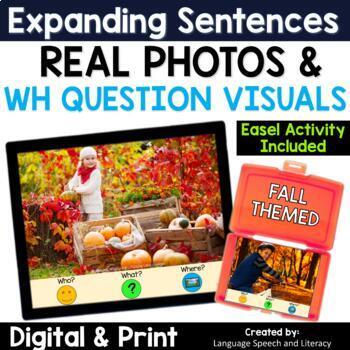 No Print Speech Therapy Expanding Sentences | Real Photos | Fall | Story Starter